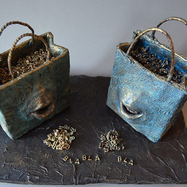 ´Labertaschen´,´Chatterboxes´ - mouth cast, mixed media