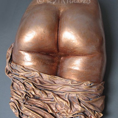 bottom cast, copper finish, drapery