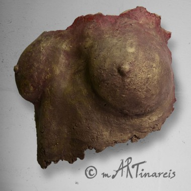 breasts cast, paper mache, bronze red