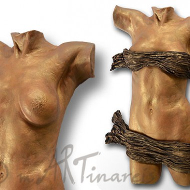 half torso, golden finish, removable drapery