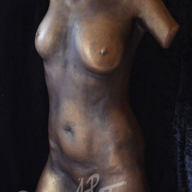 full torso, plaster, patina