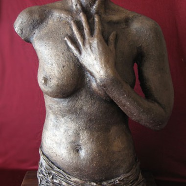 Torso with hand, rough, bronze finish