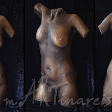full torso, plaster, bronze patina paint