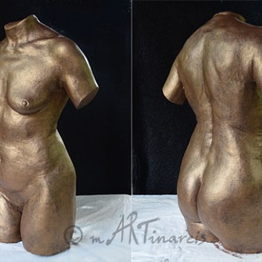 full torso, plaster, bronze finish