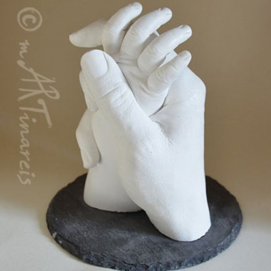 mother and child, hand cast
