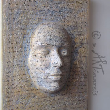 ´To be or not to be´papier mache on canvas