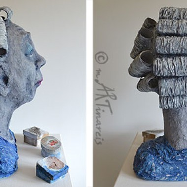 'Old bag' - papier mache sculpture, all views
