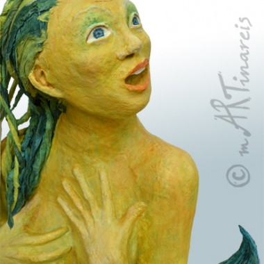 Mermaid, made of paper mache, life size