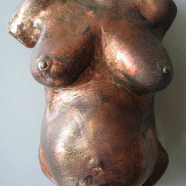 bellycast, plaster, rusty - copper finish