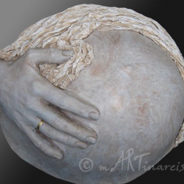 belly cast with hand and drapery, marble finish,