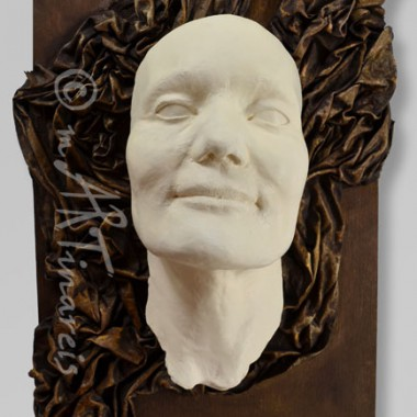-Slavka - face cast, framed with drapery