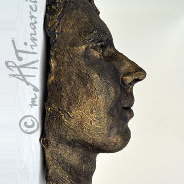 young man face casting - bronze finish