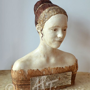 Bust of a girl, body casting, mixed media
