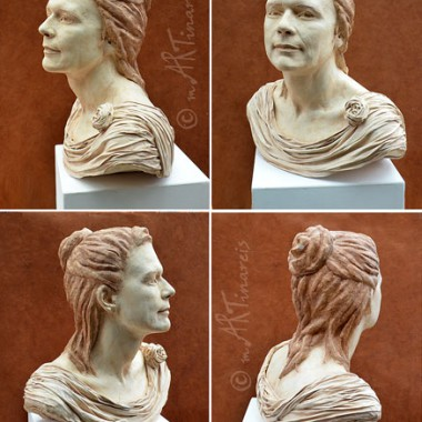 ancient bust of woman, bodycasting and modelling