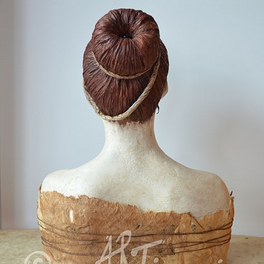 Bust of a girl, back, mixed media