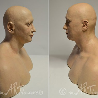 realistic bust, plaster, acrylic paints, profile