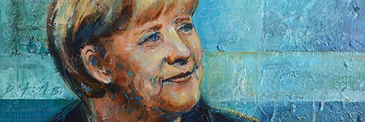 Angela Merkel - Portrait, acrylics, mixed media, 2014