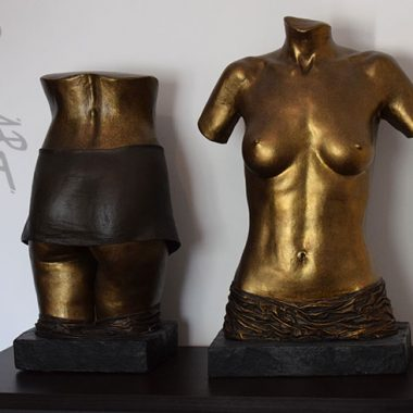 torso back and front, plaster +fixed drapery, bronze